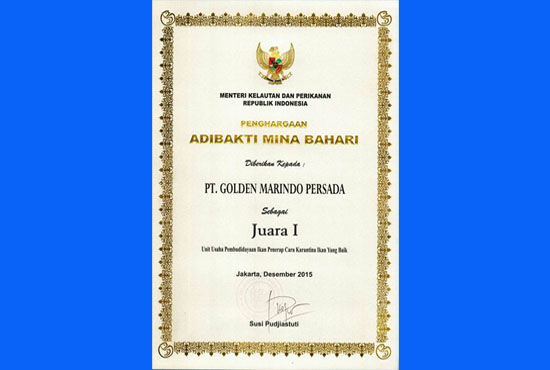 Certificate for Good Quarintine for Marine Fish