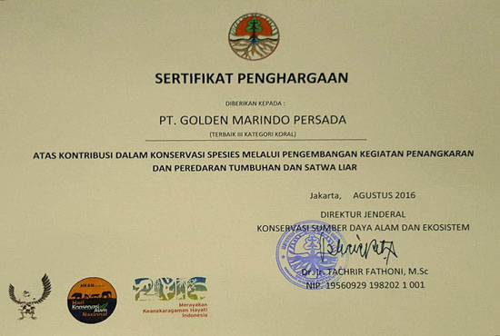 Certificate of Wild Species Conservation